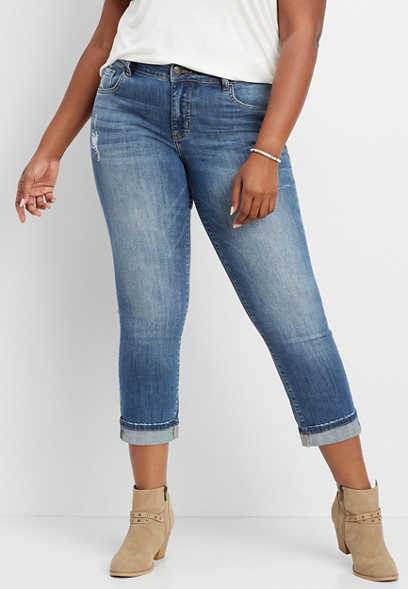 plus size Flying Monkey™ destructed mom jean