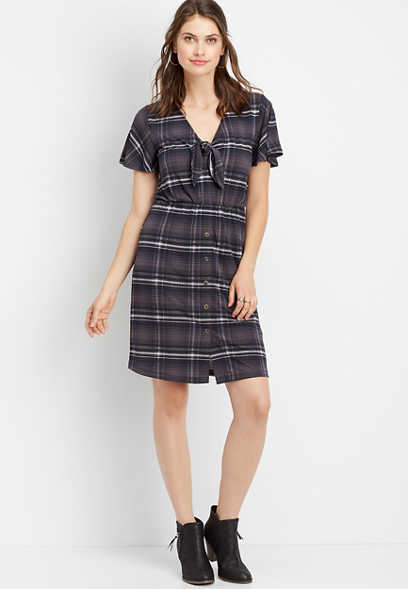 plaid v-neck tie dress
