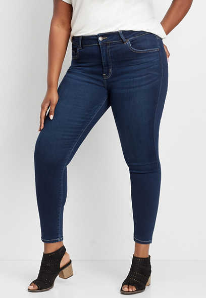 Plus Size Flying Monkey™ High Rise Dark Super Soft Skinny Jean
