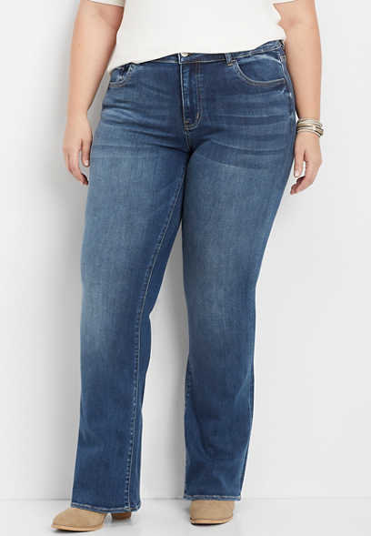 plus size Flying Monkey™ medium wash stretch bootcut jean