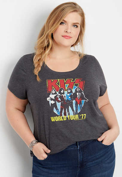 plus size KISS world tour graphic tee