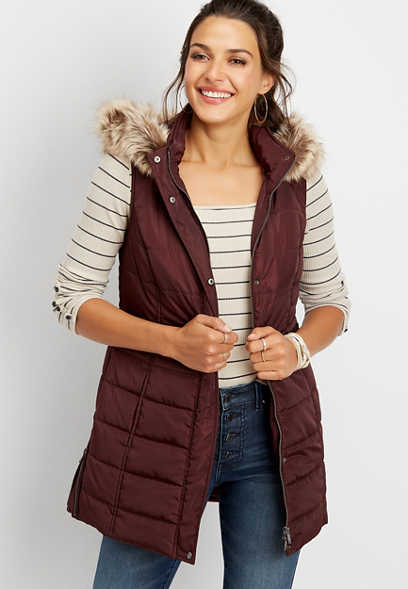 long hooded puffer vest