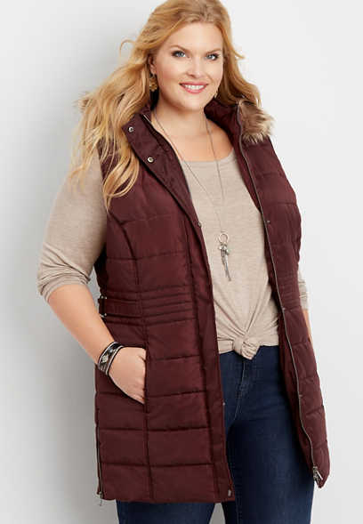 plus size long hooded puffer vest