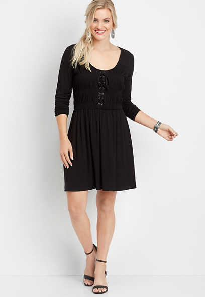 solid lace-up smocked dress