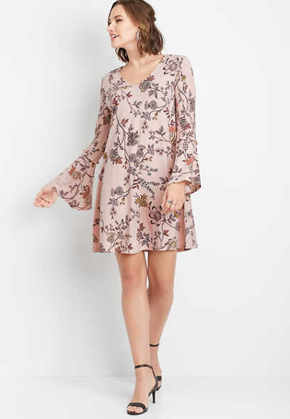 floral smocked bell sleeve shift dress