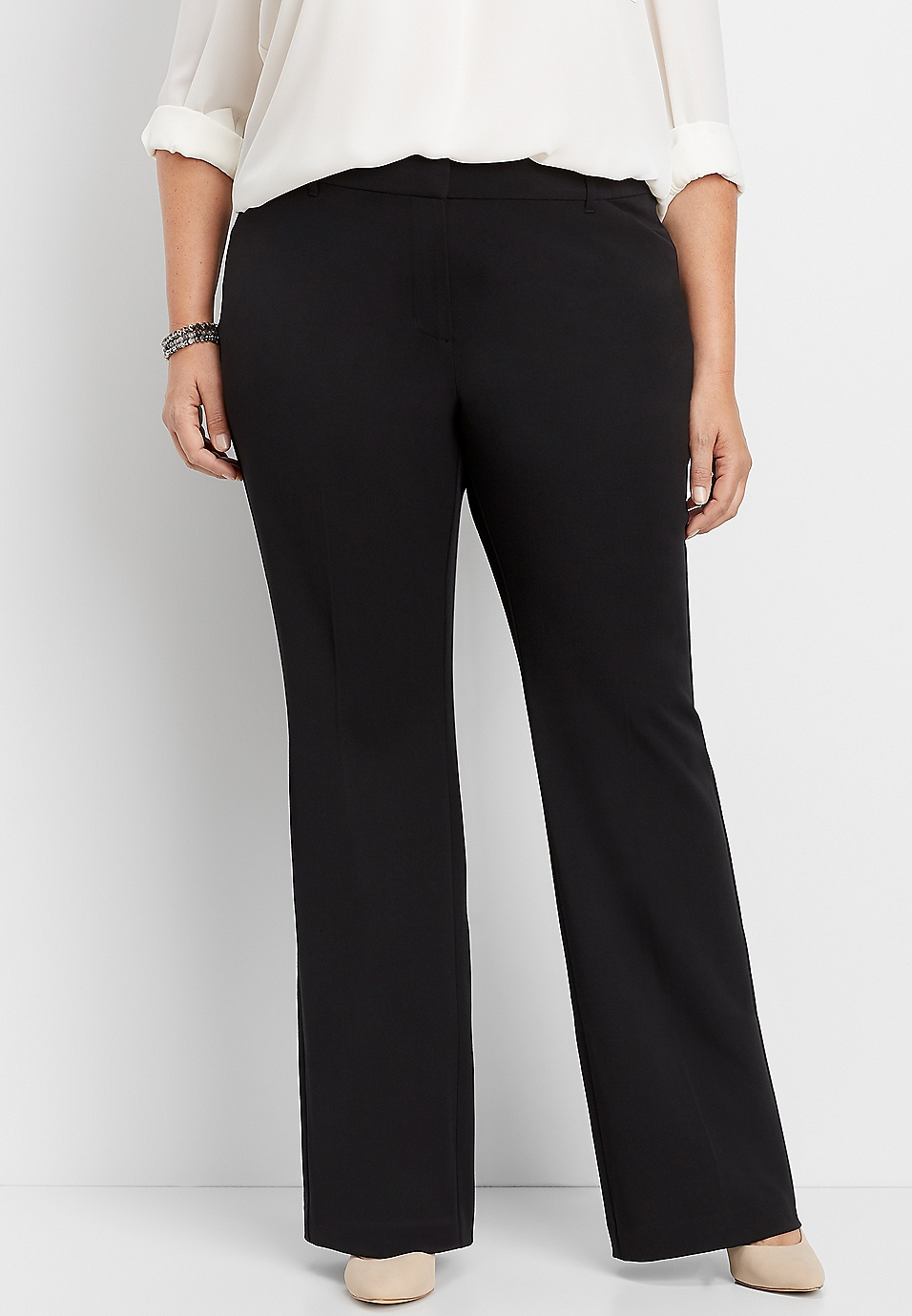plus size classic black flare pant