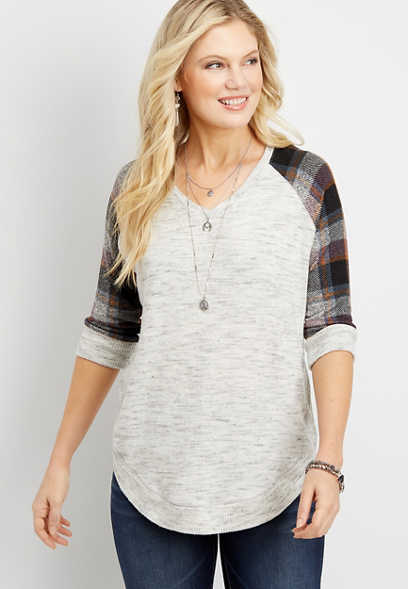 plaid sleeves round hem pullover