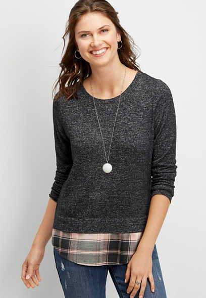 plaid lace up back pullover