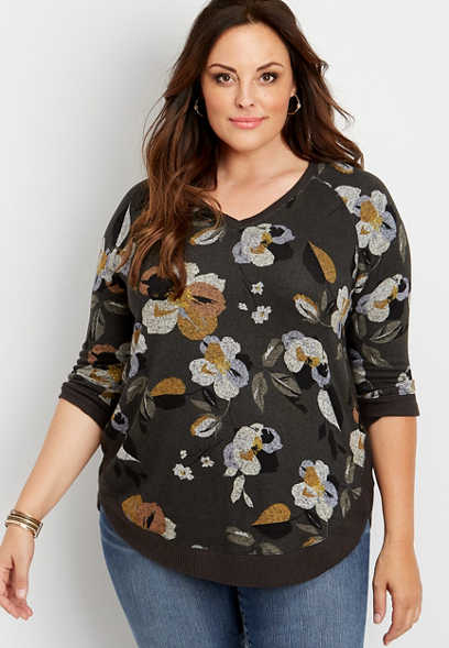 plus size floral round hem pullover