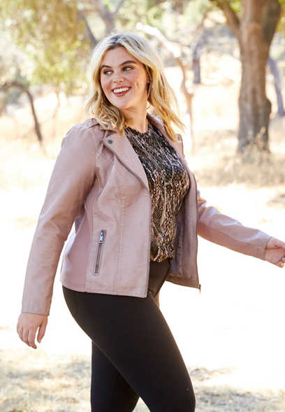 plus size faux leather washed moto jacket