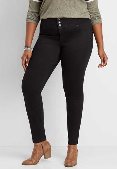 plus size DenimFlex™ high rise black triple button jegging