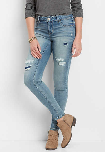 DenimFlex™ Super Soft Backed Destructed Jegging