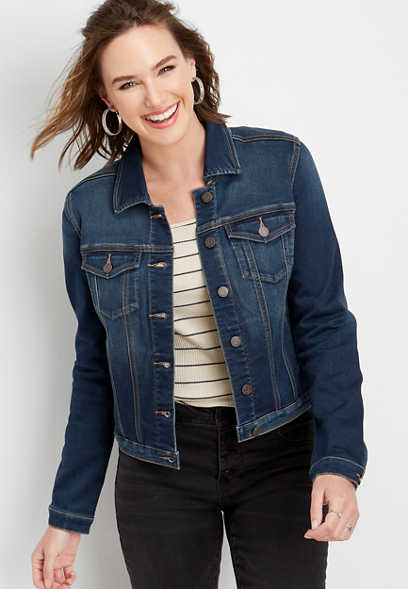 super soft dark wash denim jacket