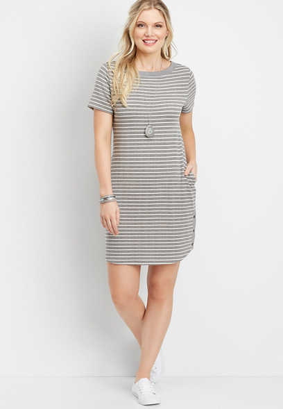 stripe snap sweatshirt pocket dress