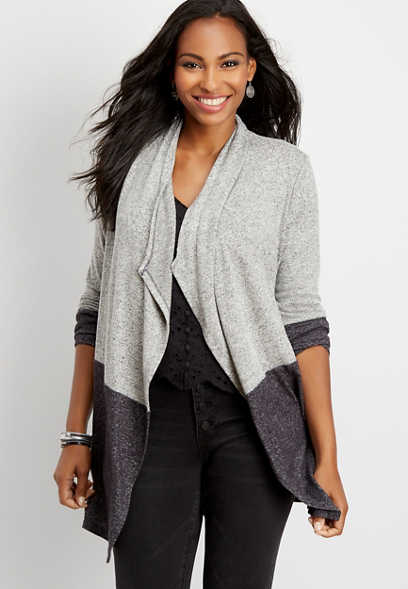colorblock open front cardigan