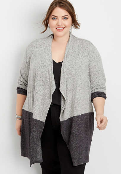 plus size colorblock open front cardigan