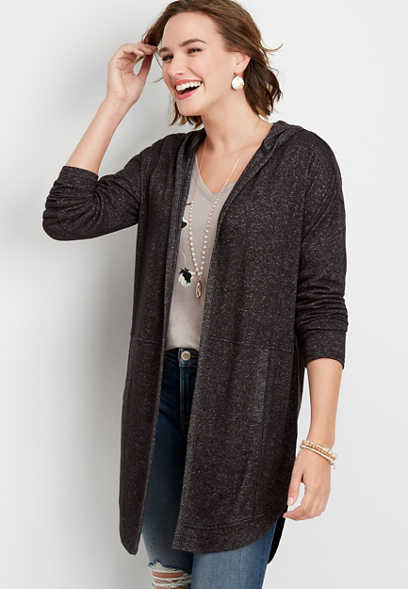 solid hooded duster cardigan