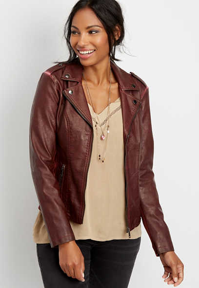 faux leather washed moto jacket