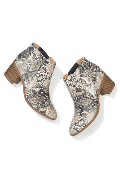 Ruby snakeskin slip on ankle bootie