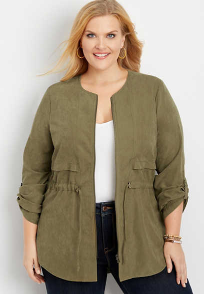 plus size solid zip front soft anorak jacket