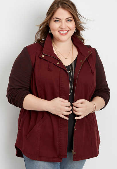 plus size knit sleeve hooded anorak jacket