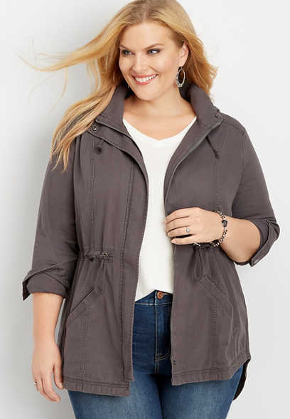 plus size solid hooded anorak jacket