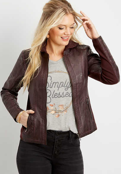 faux leather pintuck hooded jacket