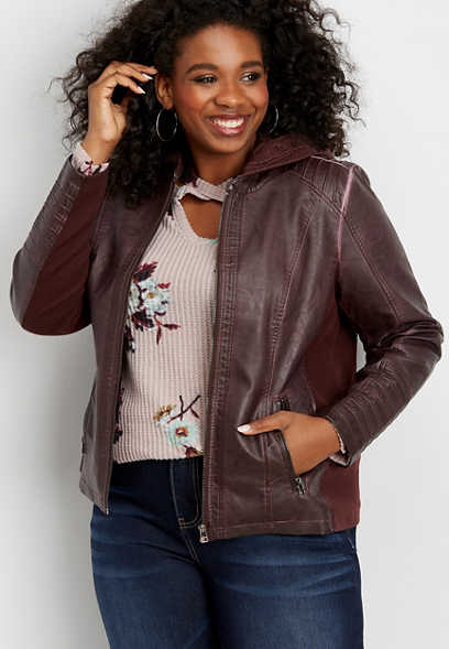 plus size faux leather pintuck hooded jacket