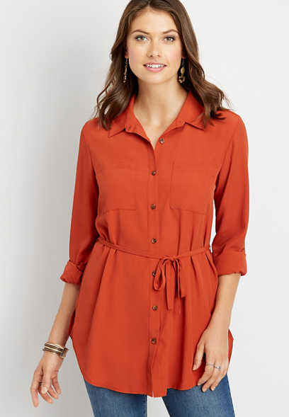 solid tie waist long sleeve tunic blouse