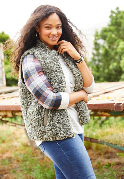 plus size reversible sherpa vest