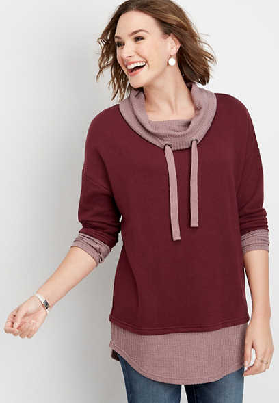 colorblock cowl neck tunic pullover