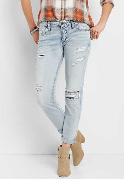 Silver Jeans Co.® light wash destructed boyfriend jean