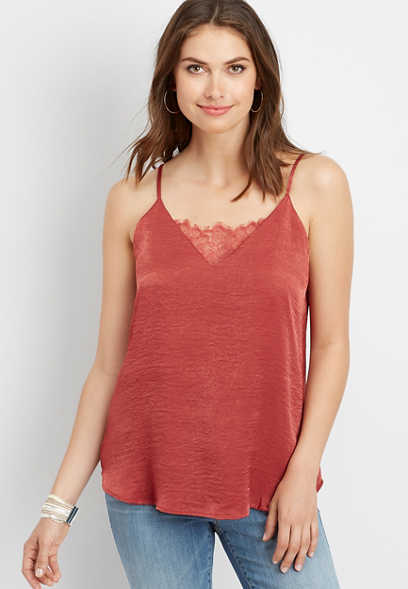 lace v-neck satin cami
