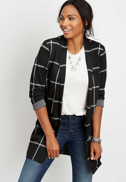 menswear plaid open front duster blazer