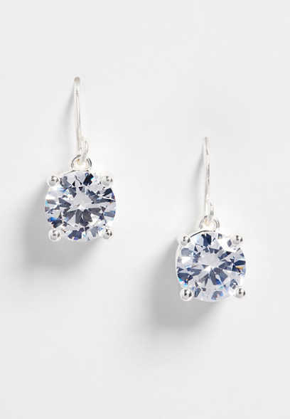 sterling silver plated genuine CZ drop earrings