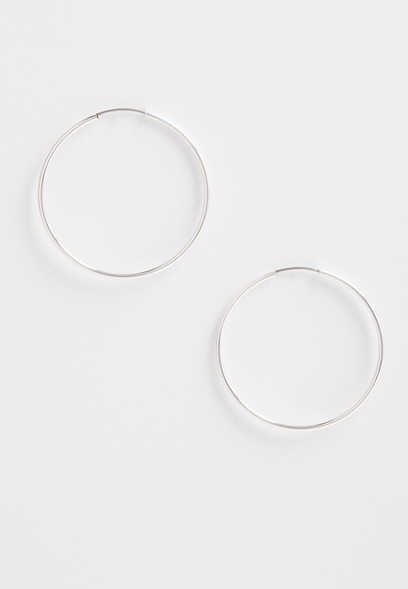 sterling silver plated endless hoop earrings