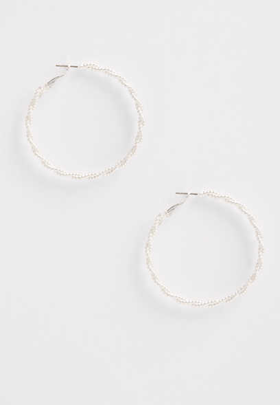 sterling silver plated twisted clutch hoop earrings