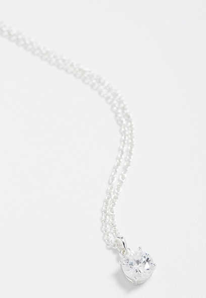 sterling silver plated round genuine CZ necklace