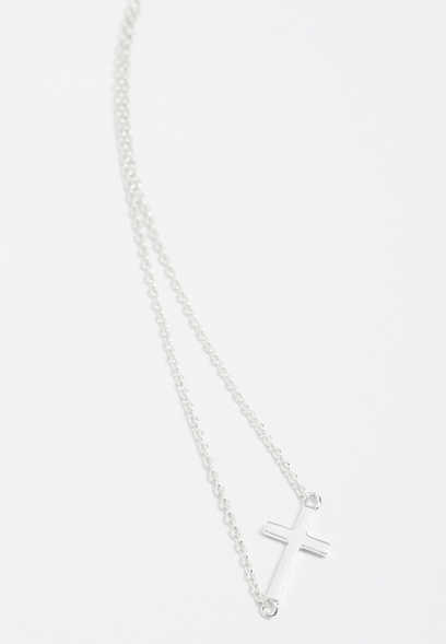 sterling silver plated side cross necklace