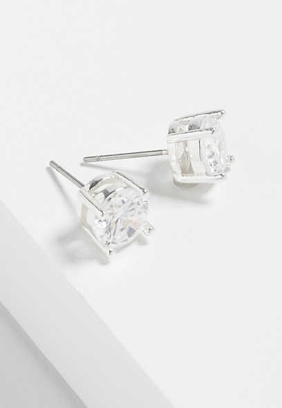 sterling silver plated 8mm genuine CZ stud earrings