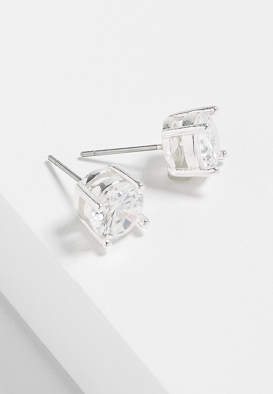 b8bfddf0d sterling silver plated 8mm rhinestone stud earrings | maurices