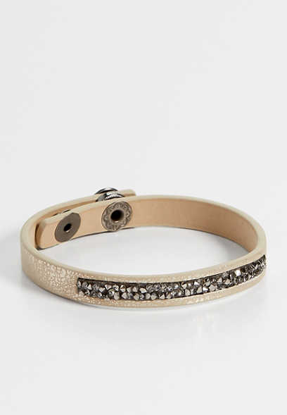 neutral rhinestone snap bracelet