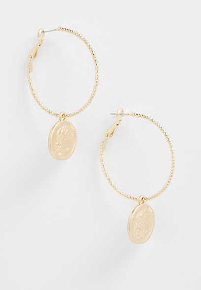 gold hoop drop coin earrings