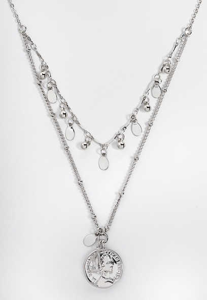 double row coin pendant necklace