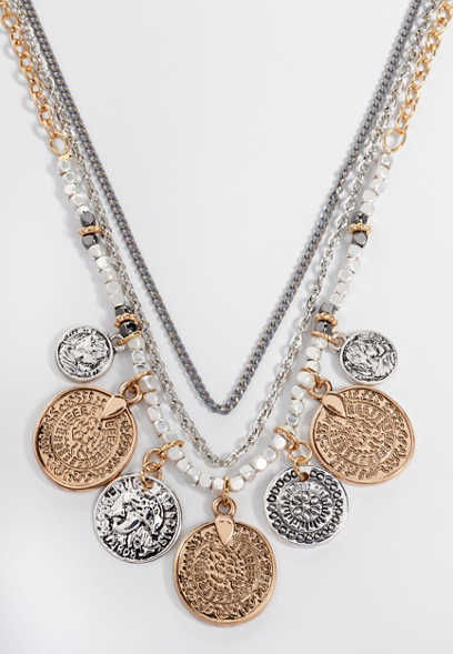 multi row coin drape necklace