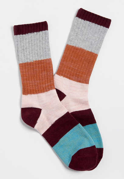 colorblock stripe crew socks