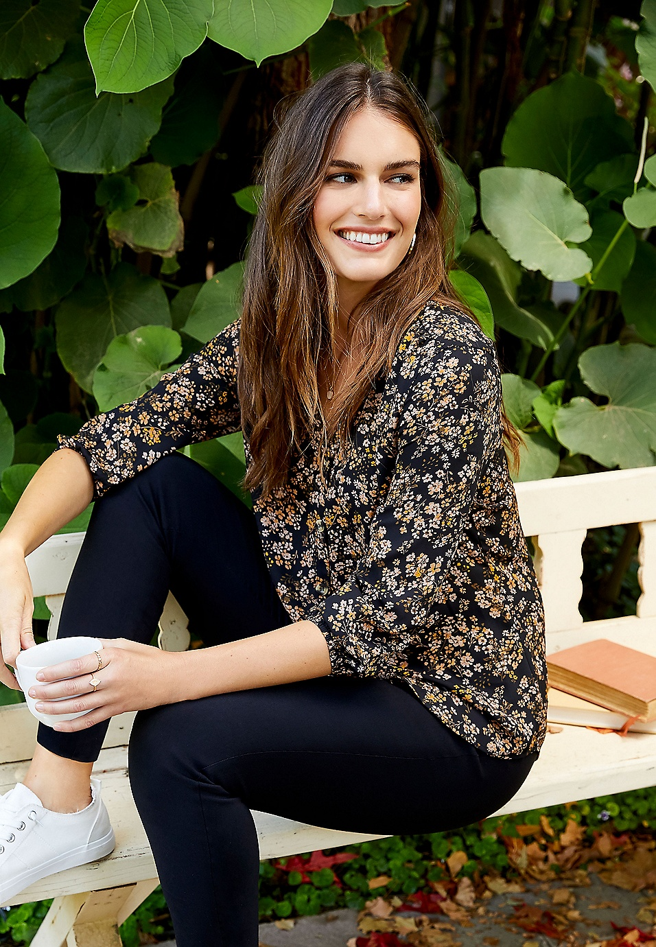 ditsy floral button down blouse