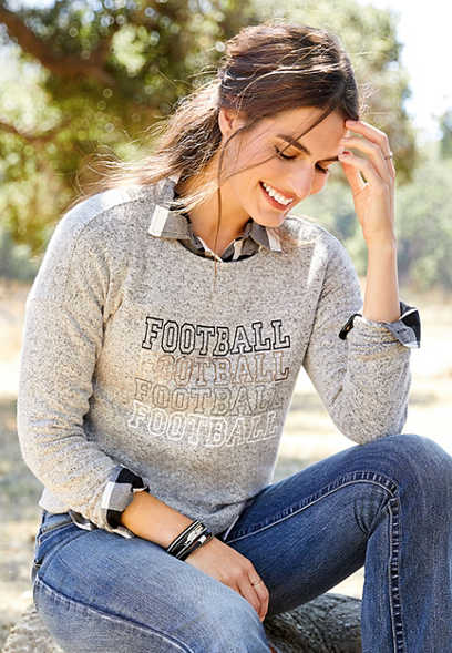 football long sleeve graphic pullover