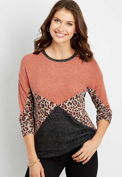 animal print splice long sleeve pullover