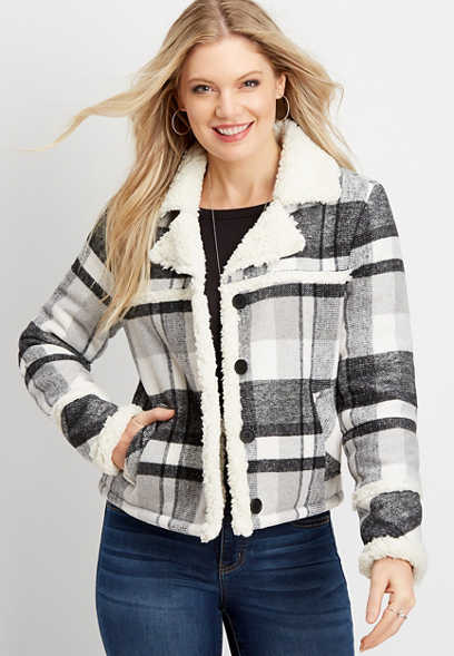 plaid sherpa trim jacket